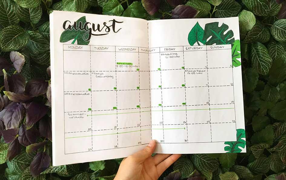 Bullet Journal - Kalender (entwickelt von Ryder Caroll)