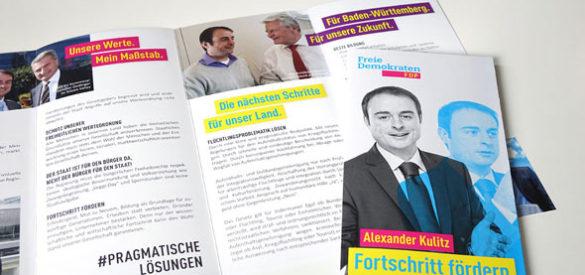 Flyer für den Wahlkampf von Alexander Kulitz von der FDP, gestaltet von der AKSIS Werbeagentur