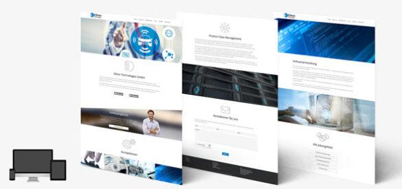 Übersicht über 3 Unterseiten der responsiven Website von Ethon Technologies