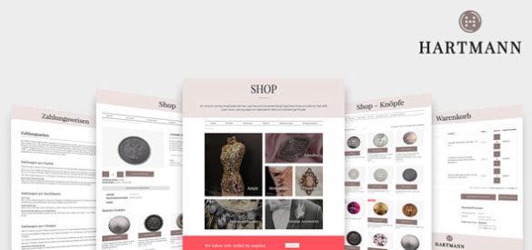 Übersicht über erstellte Seiten des Onlineshops für Hartmann Knöpfe, erstellt von der AKSIS Werbeagentur