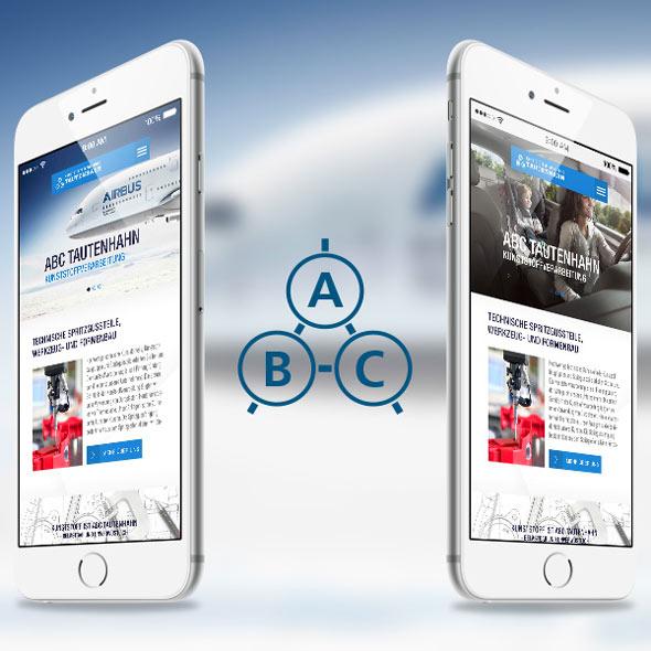 Mobile Ansicht der Website zusammen mit dem Logo von ABC Tautenhahn