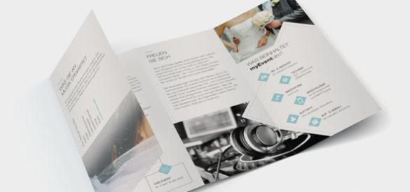 Flyer, den die AKSIS Werbeagentur für Myevent Ulm erstellte