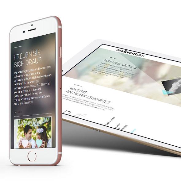 Darstellung der responsiven Website von myEvent ulm auf einem Handy und einem Tablet