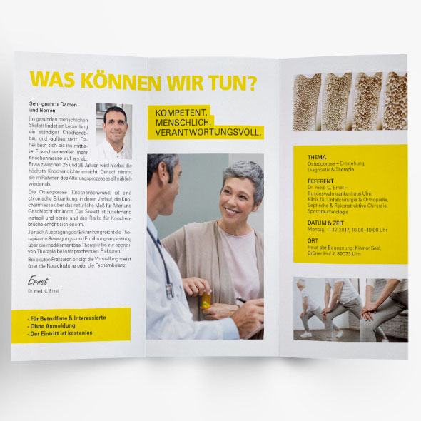 Flyer, Geschäftsausstattung des BWKs Ulm, neu gestaltet von der AKSIS Werbeagentur