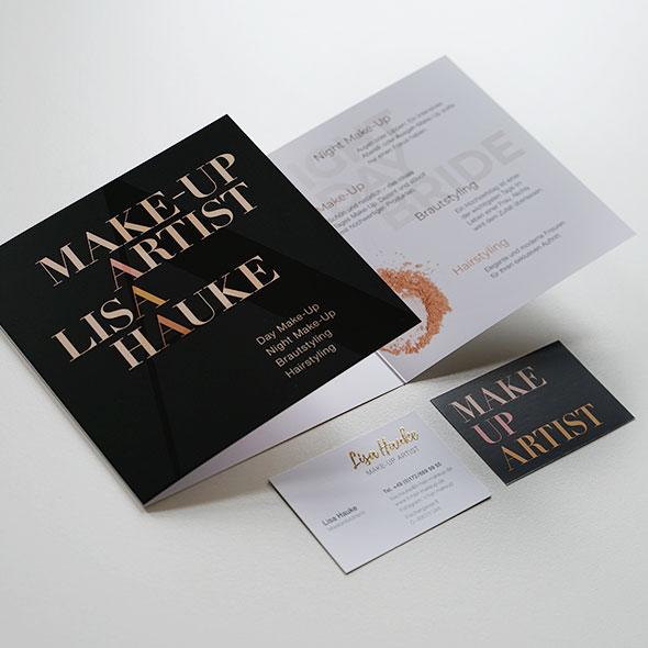 Flyer und Visitenkarte von Lisa Hauke, Makeup Artist, Gestaltet von der AKSIS Werbeagentur